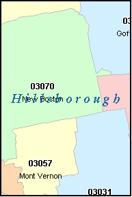 HILLSBOROUGH County, NH ZIP Code Map
