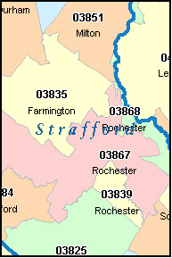 STRAFFORD County, NH ZIP Code Map