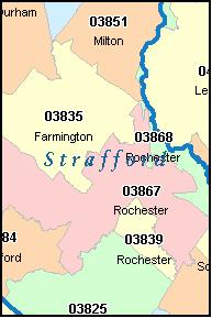STRAFFORD County New Hampshire Digital ZIP Code Map