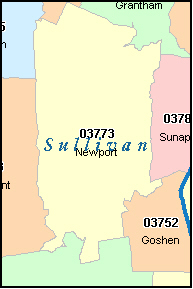 SULLIVAN County, NH ZIP Code Map