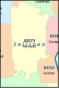 SULLIVAN County New Hampshire Digital ZIP Code Map
