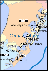 CAPE MAY County, NJ ZIP Code Map