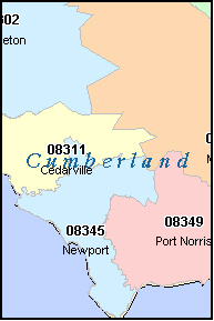 CUMBERLAND County, NJ ZIP Code Map