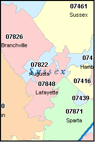 MONTAGUE New Jersey, NJ ZIP Code Map