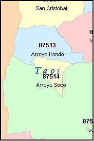 TAOS County, New Mexico Digital ZIP Code Map