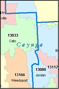 CAYUGA County, NY ZIP Code Map