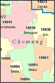 CHEMUNG County, NY ZIP Code Map