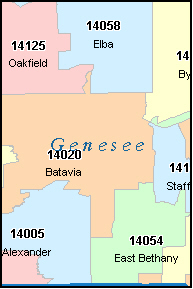 GENESEE County, NY ZIP Code Map