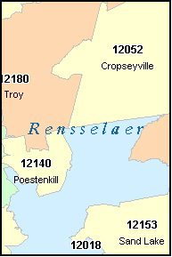RENSSELAER County, NY ZIP Code Map