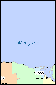 WAYNE County, NY ZIP Code Map