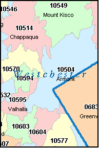 WESTCHESTER County, NY ZIP Code Map