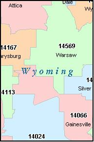 WYOMING County New York Digital ZIP Code Map