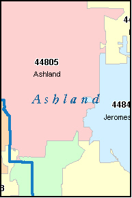 ASHLAND County, OH ZIP Code Map