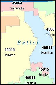 BUTLER County, OH ZIP Code Map