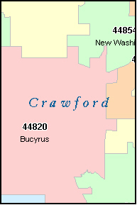 CRAWFORD County, OH ZIP Code Map