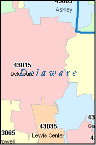 DELAWARE County, OH ZIP Code Map