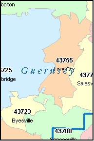 GUERNSEY County, OH ZIP Code Map