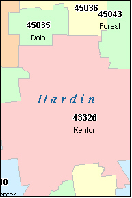 HARDIN County, OH ZIP Code Map
