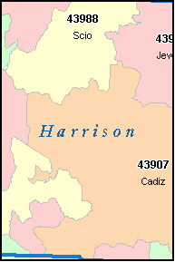 HARRISON County, OH ZIP Code Map