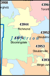 JEFFERSON County, OH ZIP Code Map