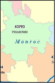MONROE County, OH ZIP Code Map