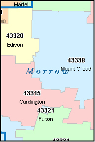 MORROW County, OH ZIP Code Map