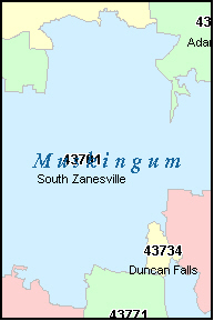 MUSKINGUM County, OH ZIP Code Map