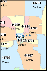 CANTON Ohio, OH ZIP Code Map