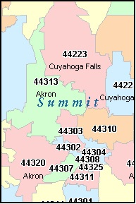 BARBERTON Ohio, OH ZIP Code Map