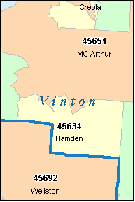 VINTON County, OH ZIP Code Map