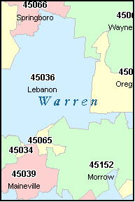 WARREN County, OH ZIP Code Map