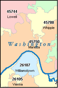 WASHINGTON County, OH ZIP Code Map