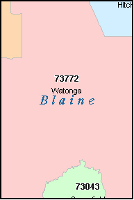 BLAINE County, OK ZIP Code Map