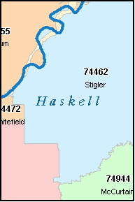 HASKELL County, OK ZIP Code Map