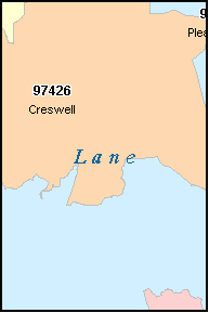 LANE County, OR ZIP Code Map