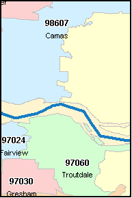 GRESHAM Oregon, OR ZIP Code Map