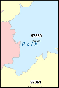 DALLAS Oregon, OR ZIP Code Map
