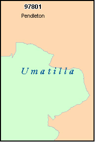 UMATILLA County, OR ZIP Code Map