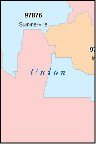UNION County, OR ZIP Code Map
