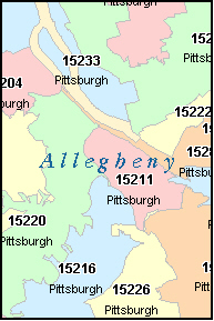 ALLEGHENY County, PA ZIP Code Map