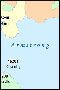 ARMSTRONG County, PA ZIP Code Map