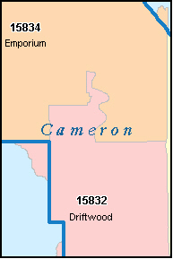 CAMERON County, PA ZIP Code Map