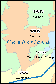 CUMBERLAND County, PA ZIP Code Map