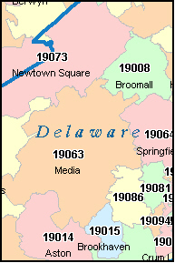 DELAWARE County, PA ZIP Code Map