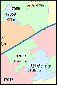 JUNIATA County, PA ZIP Code Map