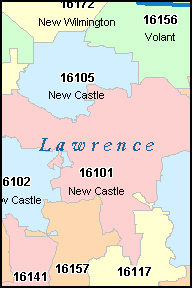 LAWRENCE County, PA ZIP Code Map