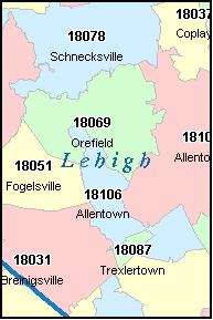 ALLENTOWN Pennsylvania, PA ZIP Code Map Downloads