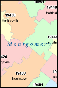 MONTGOMERY County, PA ZIP Code Map