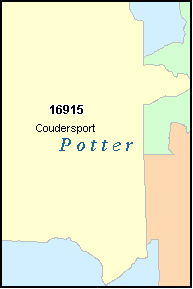 POTTER County, PA ZIP Code Map