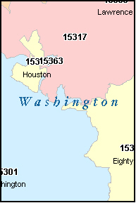 WASHINGTON County, PA ZIP Code Map